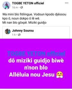 Tôgbè Yéton demande un featuring à Johnny Sourou