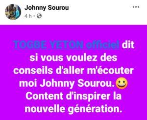 Johnny Sourou parle de Tôgbè Yéton