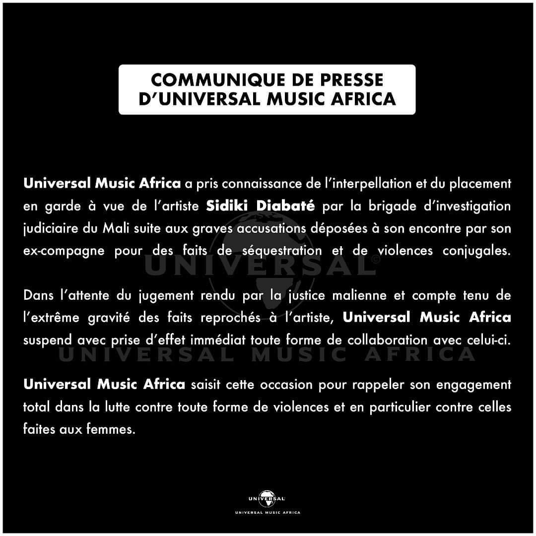 Communiqué de Universal Music Africa sur Sidiki Diabaté