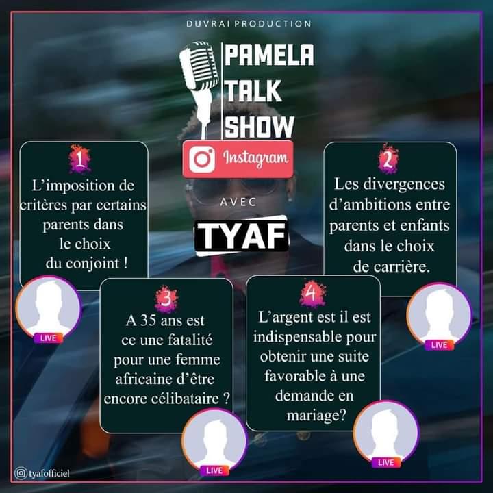 Les thèmes du Pamela Talk Show de Tyaf